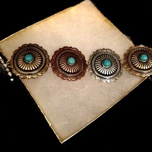 Jewelry - Santa Fe Turquoise Copper Silver Gold  Bracelet